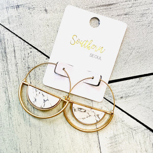 White Stone Hoop Earrings