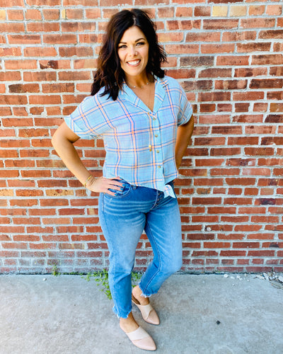 Mint Tie Front Plaid Top