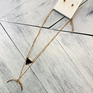 Black Triangle Layered Necklace