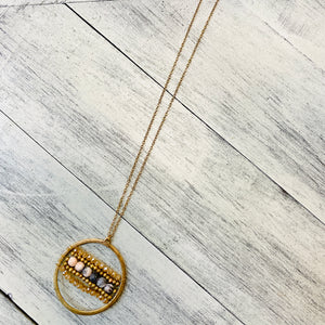 Long Gold Circle Bead Necklace