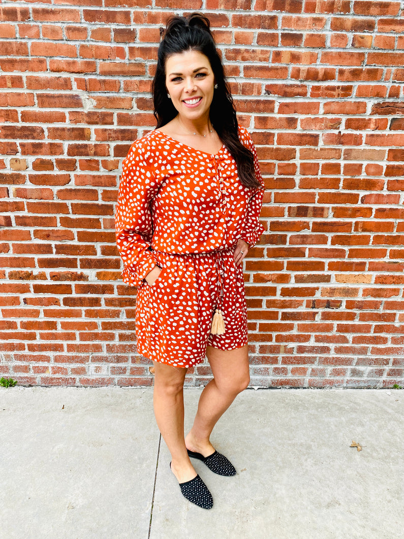 Rust Animal Print Romper