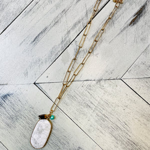 White Stone with Charms Necklace