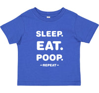 INFANT T-SHIRT FOR YOUR SPECIAL BABY, SAYS IT ALL: EAT, SLEEP, POOP & REPEAT