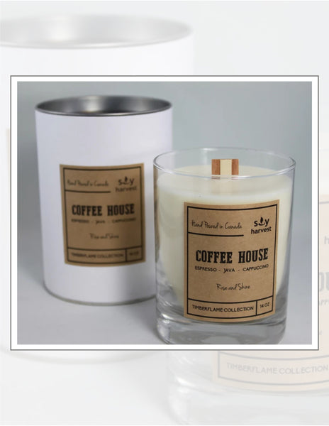 Soy Harvest Candles Timber Flame Collection Coffee House Candle