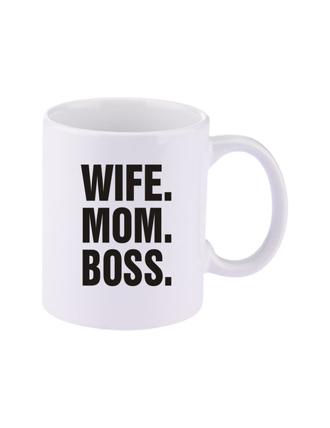 Wife Mom Boss 11 oz. C-Handle Ceramic Coffee Mug