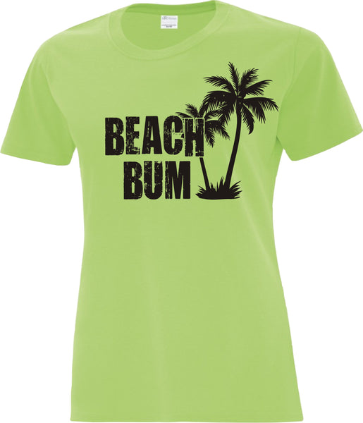 Ladies T-Shirt Printed with Beach Bum