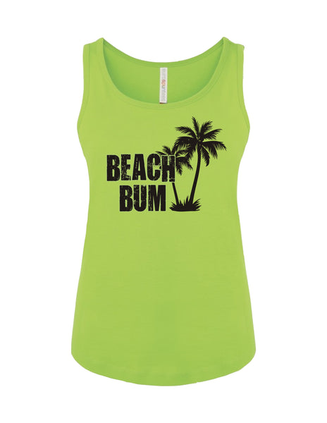 Ladies Tank Top T-Shirt Printed with Beach Bum