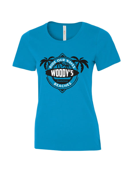 Ladies T-Shirt  printed with Ride the Woody Waves Beach Wear Logo