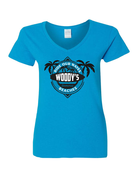 Ladies V-Neck T-Shirt  printed with Ride the Woody Waves Beach Wear Logo