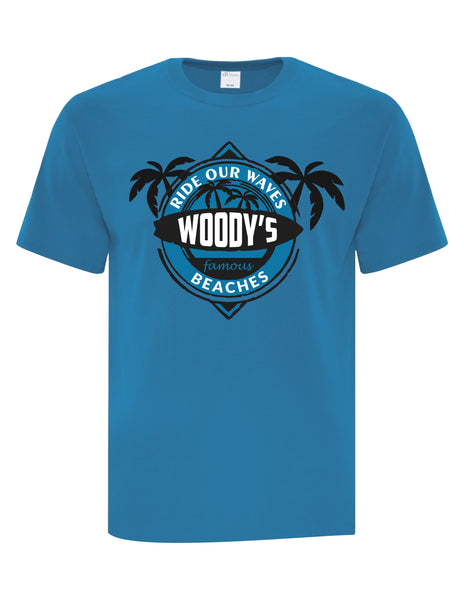 Unisex T-Shirt  printed with Ride the Woody Waves Beach Wear Logo