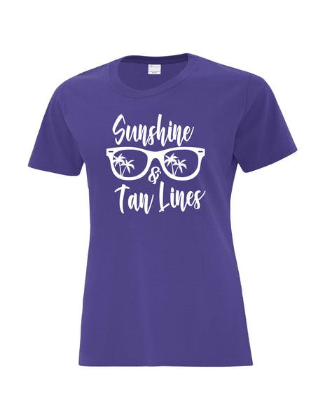 Ladies T-Shirt  printed with Sunshine & Tan Lines Sunglasses Logo