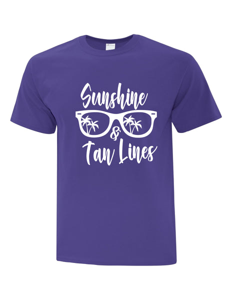Unisex T-Shirt  printed with Sunshine & Tan Lines Sunglasses Logo
