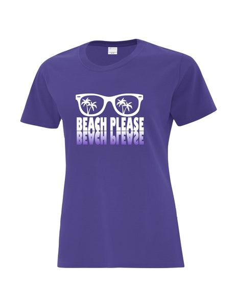 Ladies T-Shirt  printed with The Beach Please Sunglasses Logo