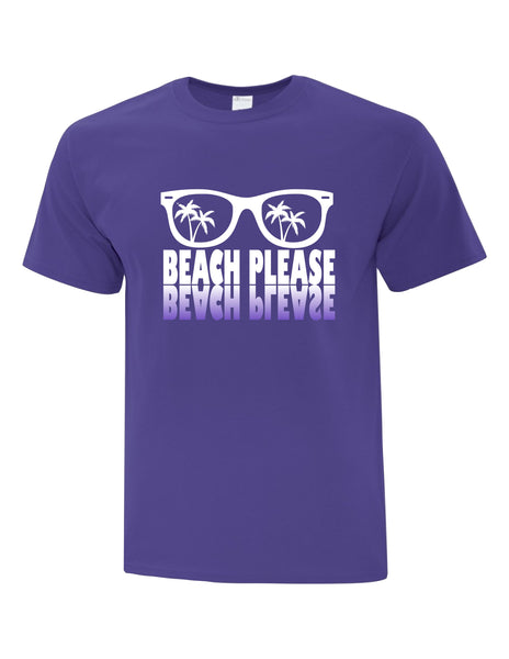 Unisex T-Shirt  printed with The Beach Please Sunglasses Logo