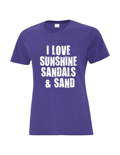 Ladies T-Shirt  printed with I Love Sunshine Sandals & Sand Logo