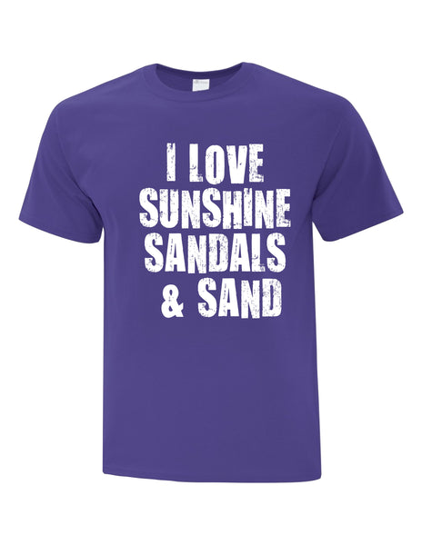 Unisex T-Shirt  printed with I Love Sunshine Sandals & Sand Logo