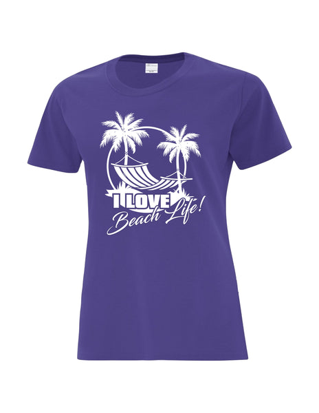 Ladies T-Shirt printed with I Love Beach Life Logo