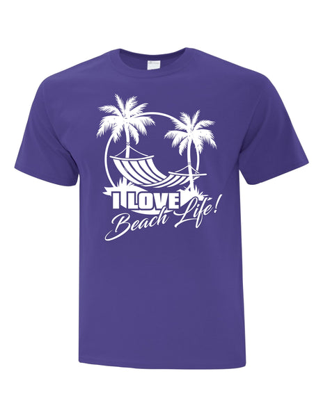 Unisex T-Shirt printed with I Love Beach Life Logo