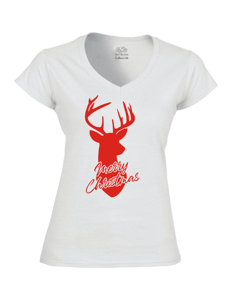 Merry Christmas Dear - White  Ladies V-Neck T-Shirt with Red Print