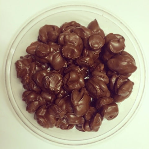 Cherry-Almond Clusters ~ Sun-Dried Cherries, Dry Roasted Almonds, Hand-Dipped in Milk Chocolate