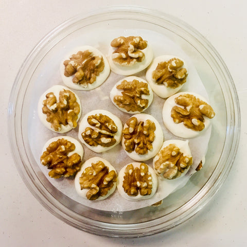 Walnut Thumbprints ~ California-Grown, Natural Walnuts Hand-Dipped in Vanilla