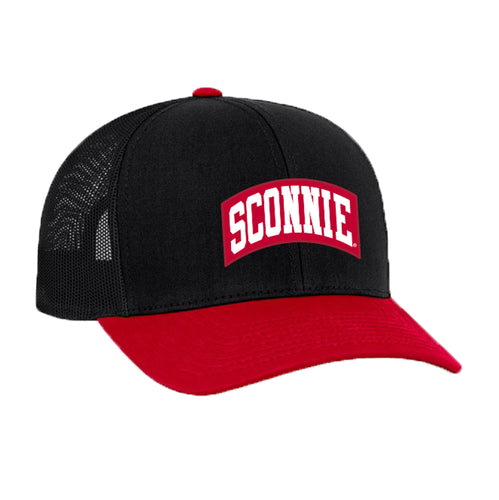 Sconnie Patch Snapback Trucker Hat - Black/Red