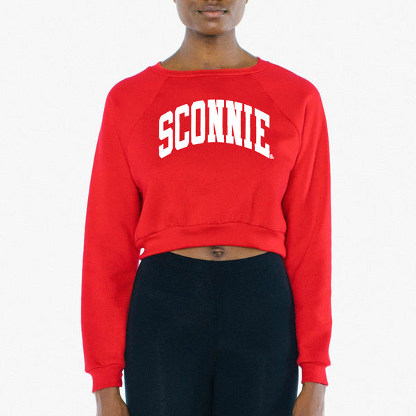 Sconnie Arch Am App Womens Flece Raglan Crop Sweatshirt - Red