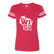 Load image into Gallery viewer, All WI Do is Win Womens Football Jersey Tee - Vintage Red/White