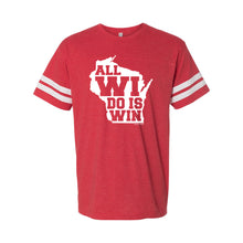 Load image into Gallery viewer, All WI Do is Win Adult Football Jersey Tee - Vintage Red/White