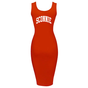 Sconnie Arch Spandex Jersey Tank Dress - Red