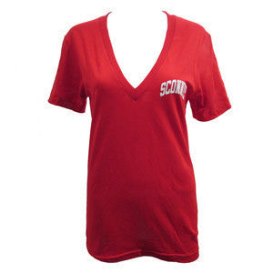 Sconnie Deep V-Neck T-shirt - Red
