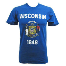 Load image into Gallery viewer, Wisconsin State Flag T-shirt - Royal