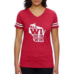 All WI Do is Win Womens Football Jersey Tee - Vintage Red/White
