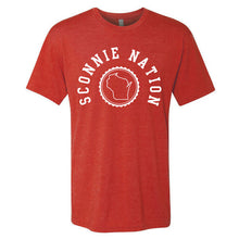 Load image into Gallery viewer, Sconnie Nation Seal Tri-Blend T-shirt - Vintage Red