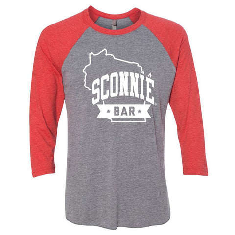 SCONNIEBAR State Logo 3/4 Sleeve Baseball Tee - Premium Heather/Vintage Red
