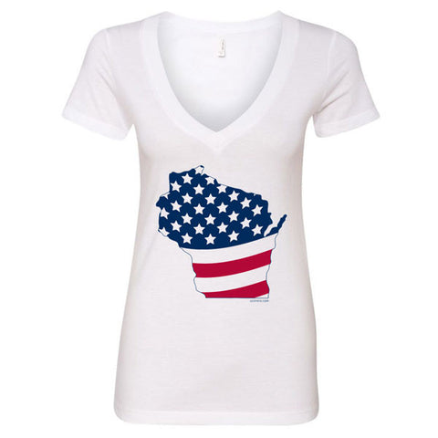 Wisconsin America Ladies V-Neck - White