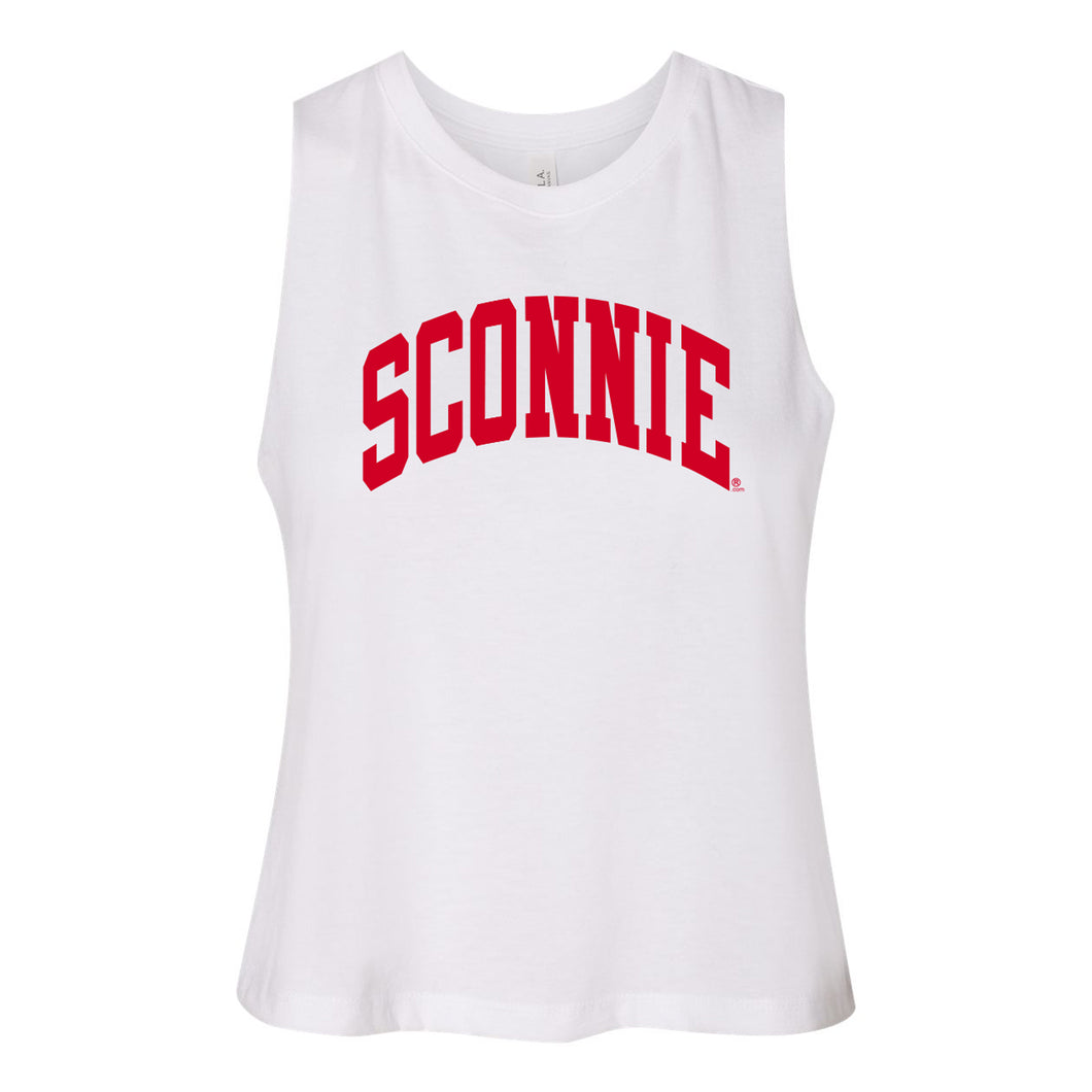 Sconnie Arch Racerback Cropped Tank - Solid White Triblend