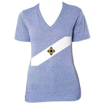 Madison City Flag Tri-Blend V-Neck - Athletic Blue