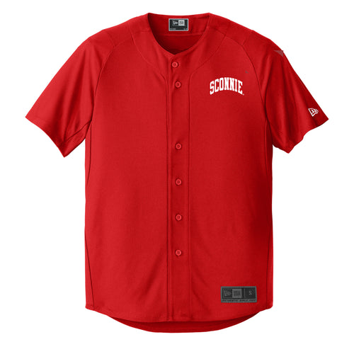 Sconnie New Era Full Button Baseball Jersey - Red
