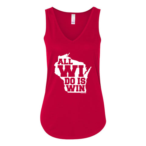 All Wi Do is Win Vneck Flowy Tank - Red