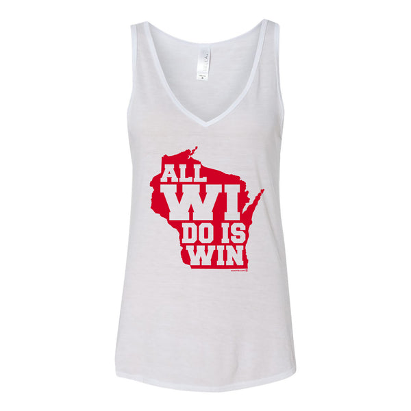 All Wi Do is Win Vneck Flowy Tank - White