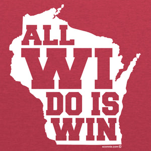 All WI Do is Win Adult Football Jersey Tee - Vintage Red/White