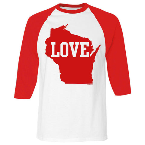 Wisconsin Love 3/4 Sleeve Baseball Tee - White/Red