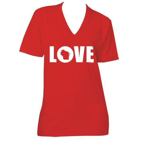 LOVE Wisconsin V-Neck - Red