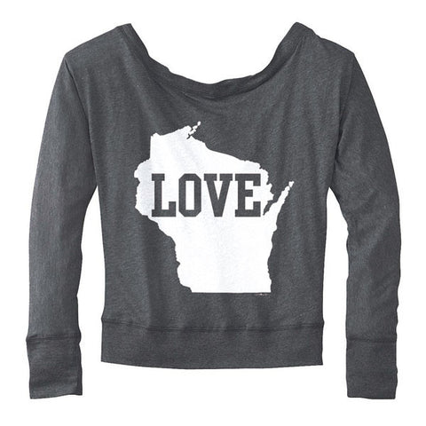 WI Love Long Sleeve Dolman - Deep Heather Grey