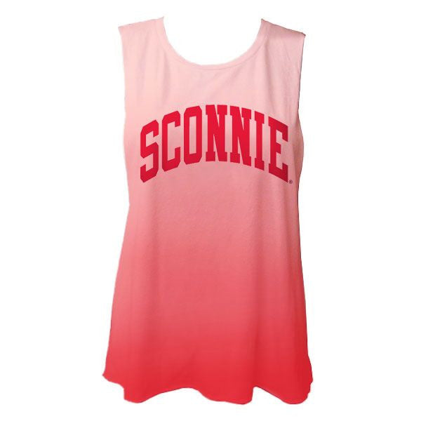 Sconnie Women's Deep Side Cut Ombre Muscle Tank - Red/White