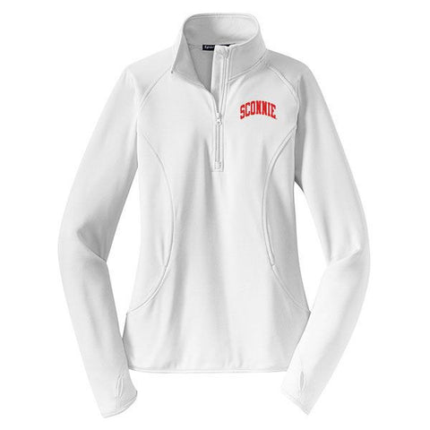 Sconnie Women's 1/4 Zip Pullover - White