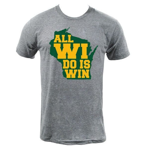 All WI Do Is Win Tri-Blend T-shirt - Green/Gold Text - Athletic Grey