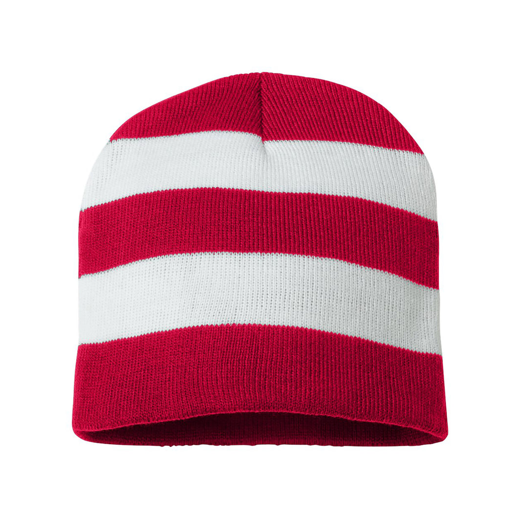 Striped Knit Beanie Hat - Red/White