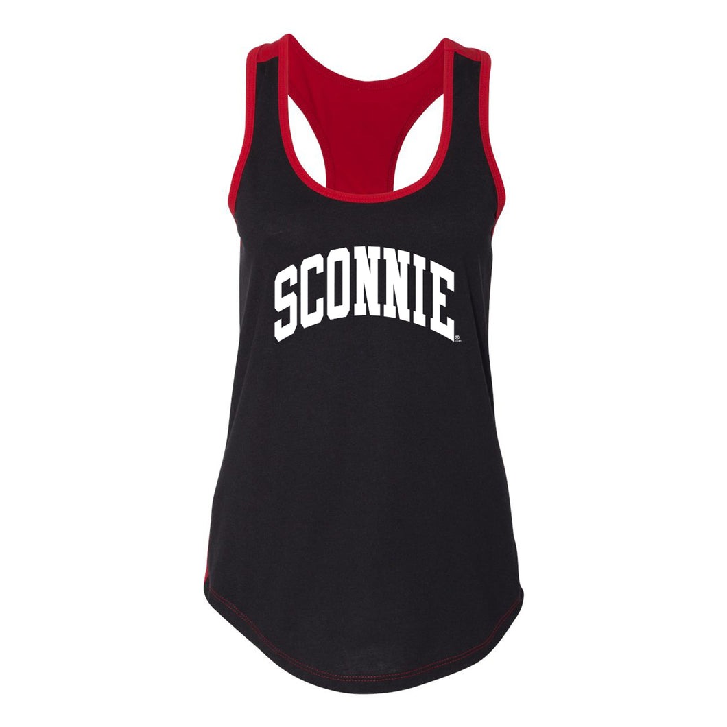 Sconnie Womens Colorblock Racerback Tank - Black/Red